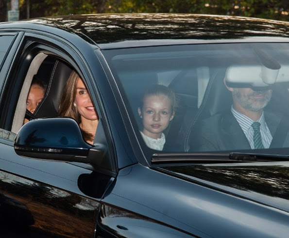 Princess Sofia, Princess Leonor, King Felipe, Queen Letizia,  Leonor and Sofia attend first week of school arrive at 'Santa Maria de los Rosales' school