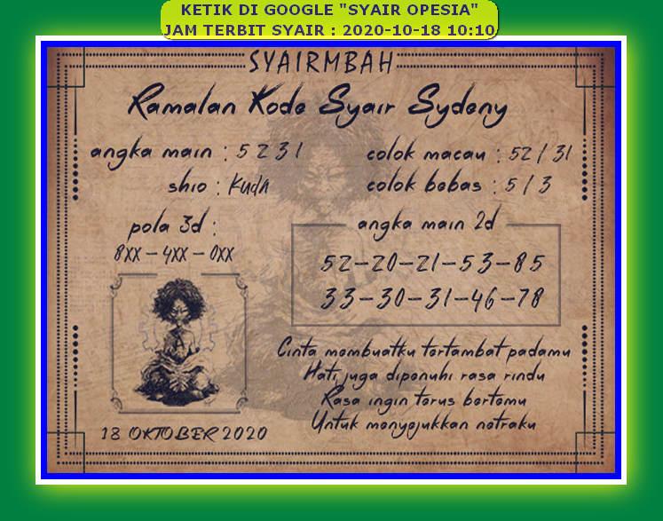 Kode syair Sydney Minggu 18 Oktober 2020 101