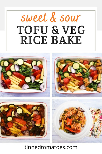 Sweet & sour tofu rice bake is a one-pot Chinese-style meal cooked in the oven. The tofu, vegetables, rice, and sweet and sour sauce are all cooked together in one dish for a fuss-free family dinner.