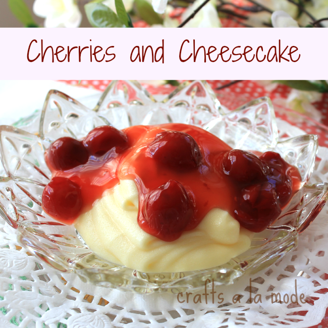 No bake cheese mix covered with cherries