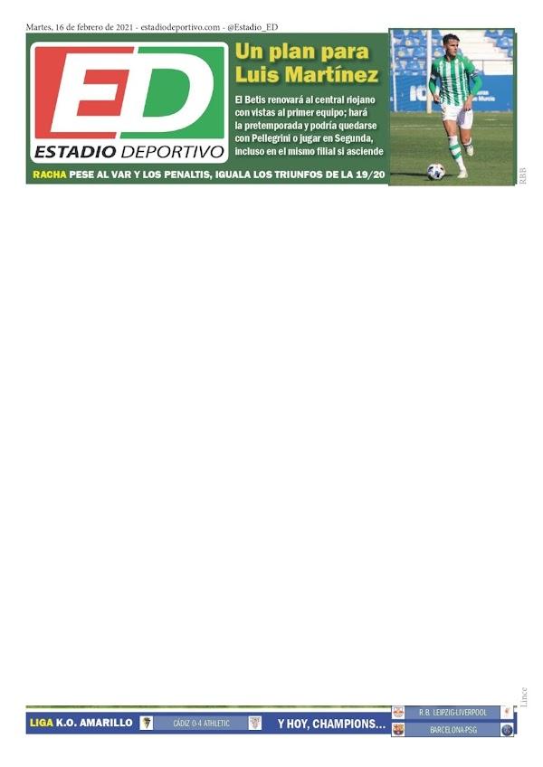 """Betis, Estadio Deportivo: """"Un plan para Luis Martínez"""""""