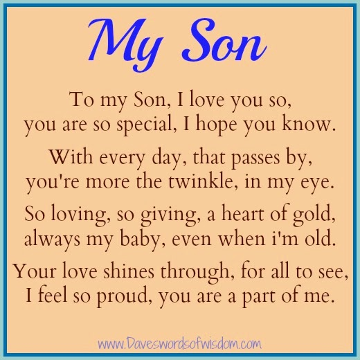 Happy Birthday To My Son Images And Quotes: Dear Son Quotes. QuotesGram