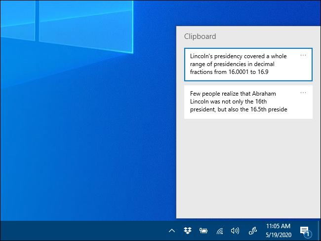 النافذة المنبثقة لسجل الحافظة على Windows 10.