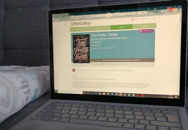 Ordinateur avec la page NetGalley ouvert sur un canapé, plaid Harry Potter.