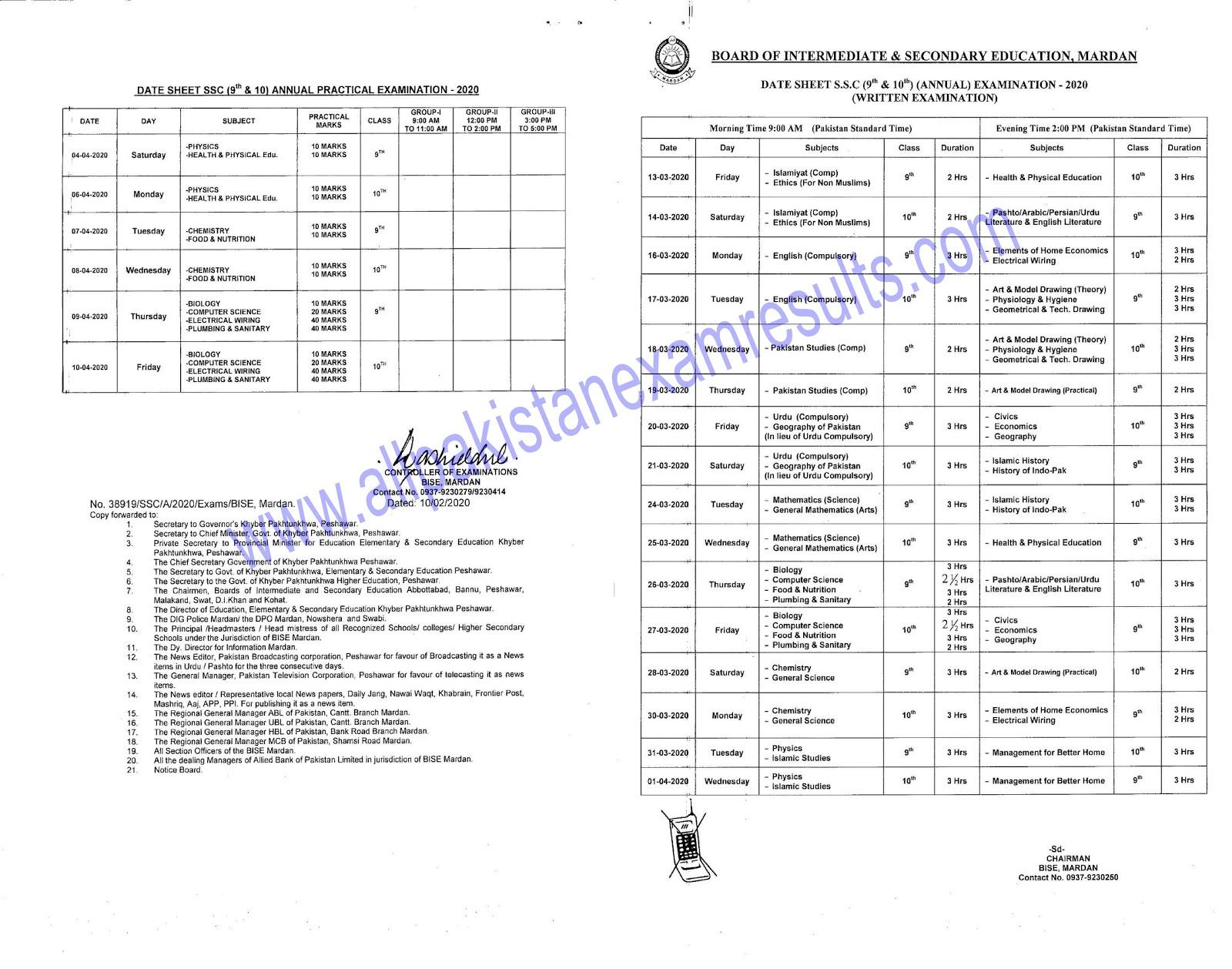 BISE Mardan 10th class Date Sheet 2020