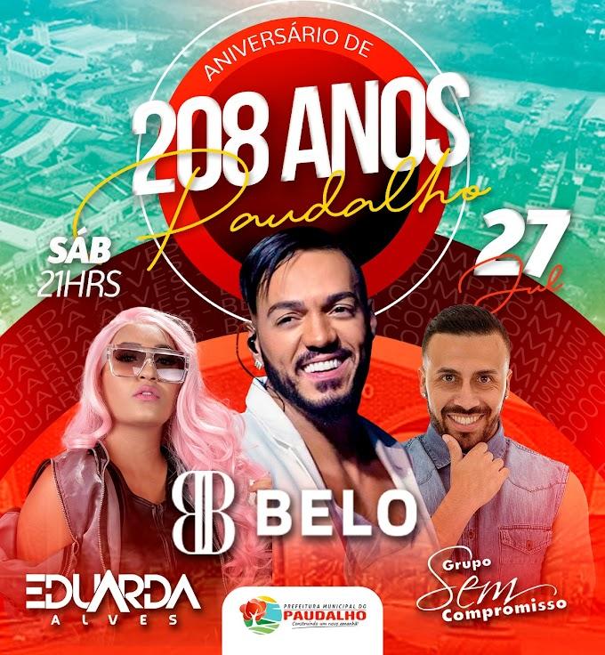 Belo, Eduarda Alves e Grupo Sem Compromisso animam a festa dos 208 anos de Paudalho