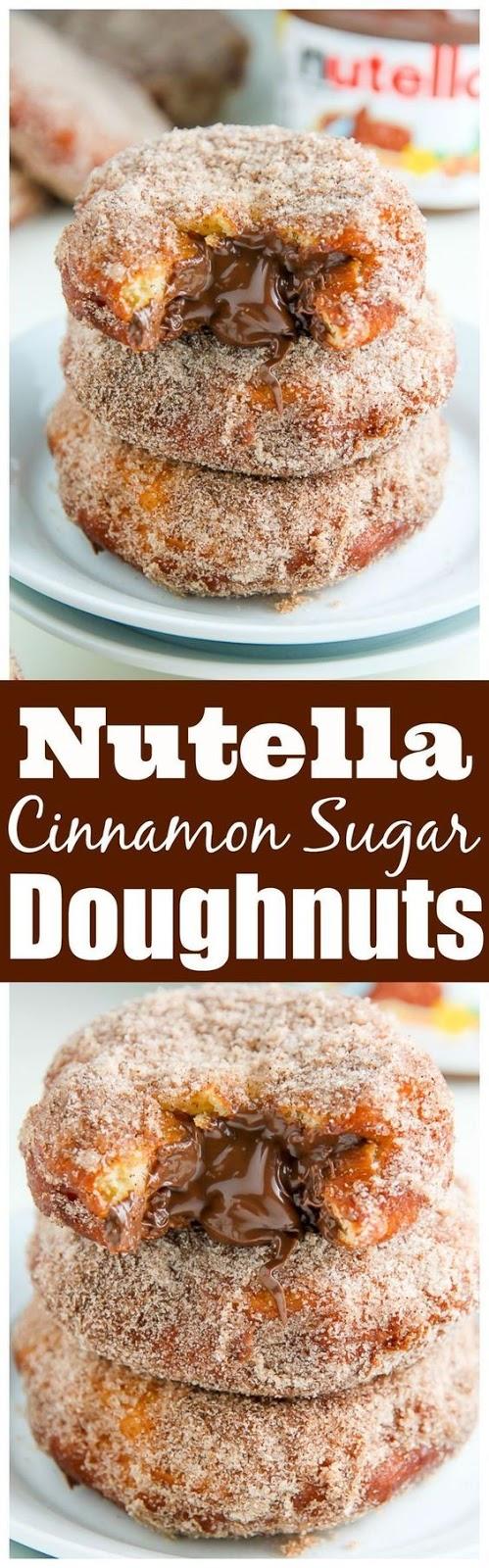 Nutella Cinnamon Sugar Doughnuts #Nutellarecipe #Nutellafood #Cinnamon #Sugar #Doughnuts #Dessert #italiandessert #Americandessert #Unitedstatedsdessert
