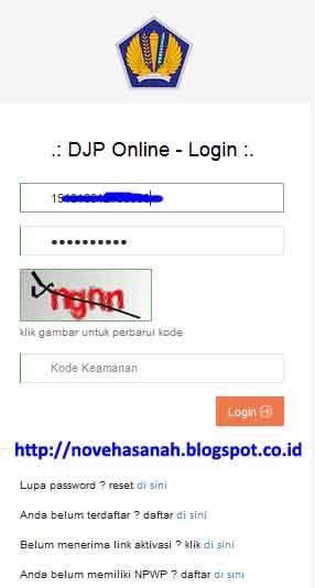 buka halaman djponline-pajak-go-id kemudian masukkan NPWP dan password anda, lalu ketikkan kode captcha yang diberikan pada formulir yang disediakan