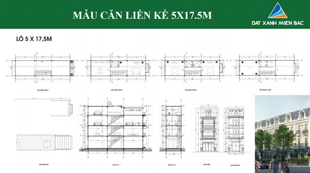 Hình ảnh thiết kế mẫu liền kề thuộc dự án Uông Bí New City ( loại 5 x 17,5 m)