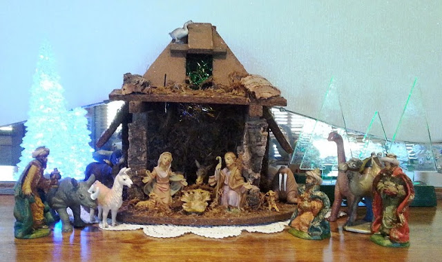 our Christmas nativity scene - complete with a few additional animals!