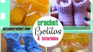 Botitas para Bebés a Crochet / 4 Tutoriales en Español