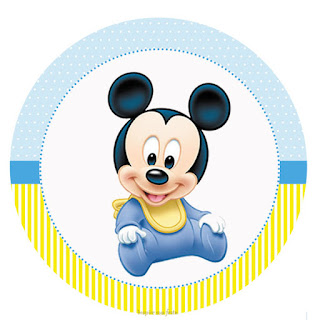 Mickey Baby in Light Blue and Yellow Toppers or Free Printable Candy Bar Labels.