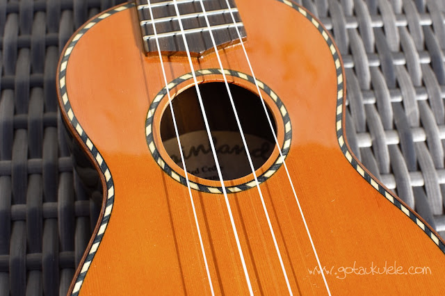 Mainland Red Cedar Gloss Soprano Ukulele inlays