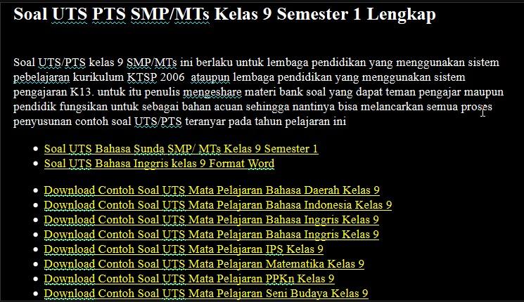 Soal UTS PTS SMP/MTs Kelas 9 Semester 1 Lengkap