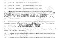 Staff nurse exam solved paper pdf