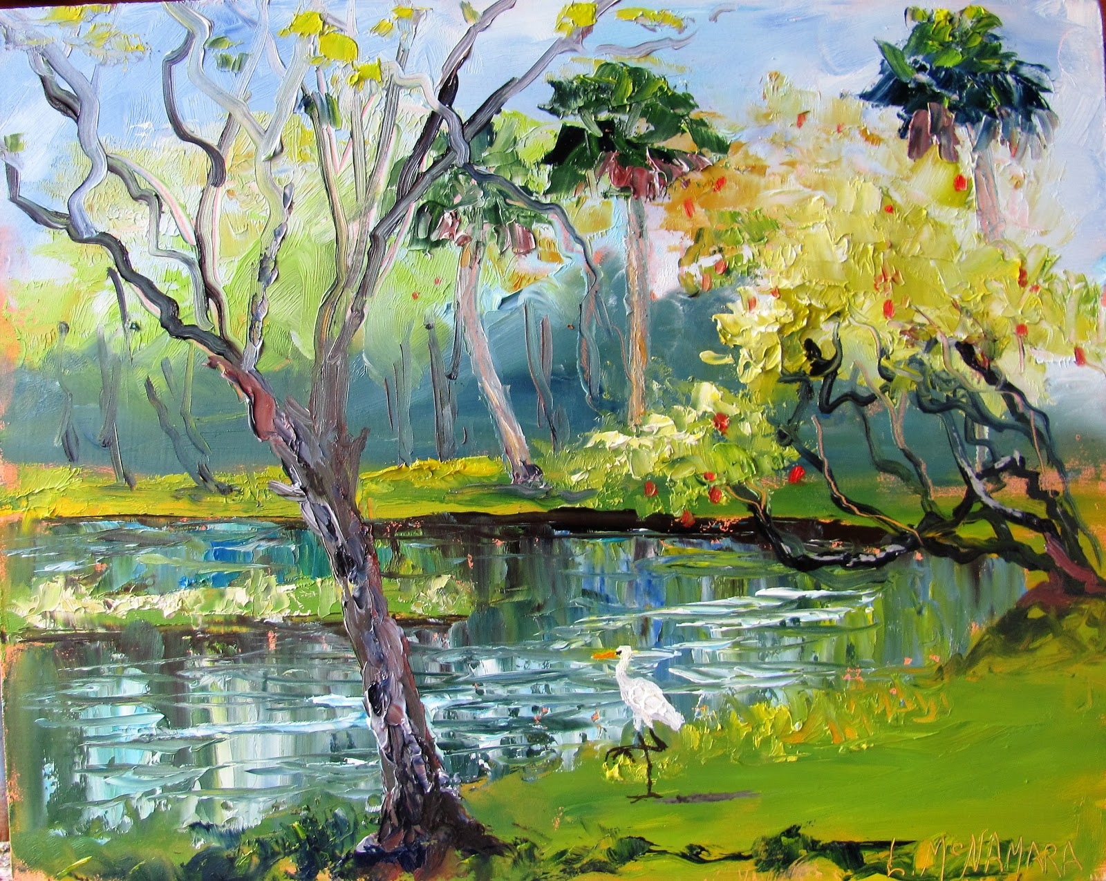 Lori S Stormy Art And Daily Paintings 1647 American Egret At White City Park Plein Air