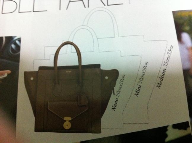 285bfd7281c3 Dimensions of Celine Mini Luggage Shopper Totes