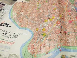 訪問したチェックポイントに印しを付けられた地図