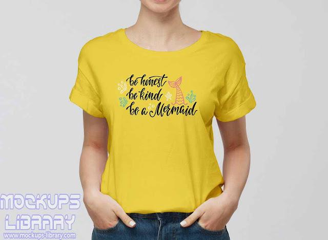 modern girl wearing t-shirt mockup