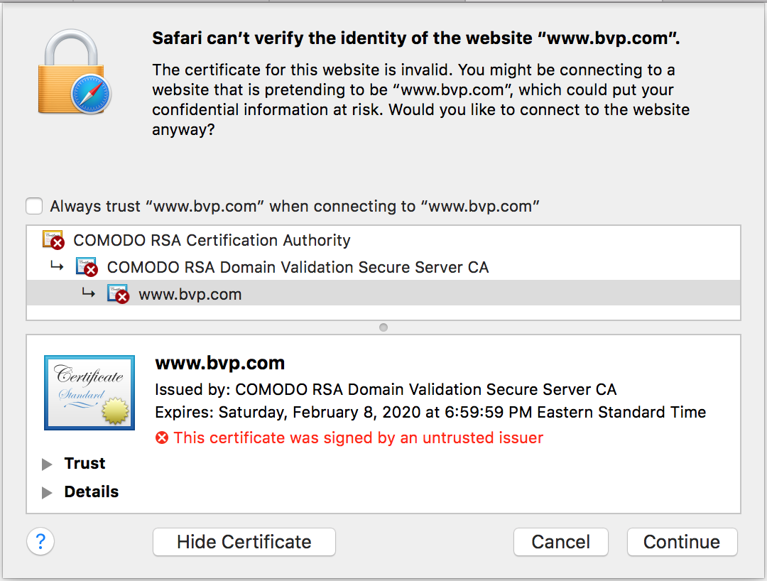 Security browser comodo rsa certificate bvp tried opera got a warning 1betcityfo Choice Image