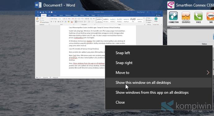 Cara Pin Suatu Jendela di Semua Desktop Windows 10 1