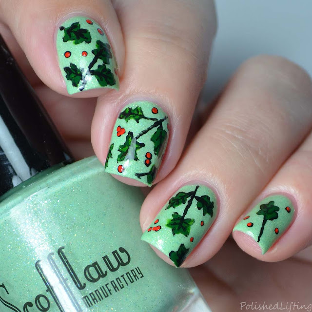freehand holly nail art