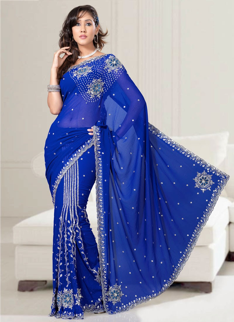 Royal Blue Saree Patterns Indian And Pakistani Fashions