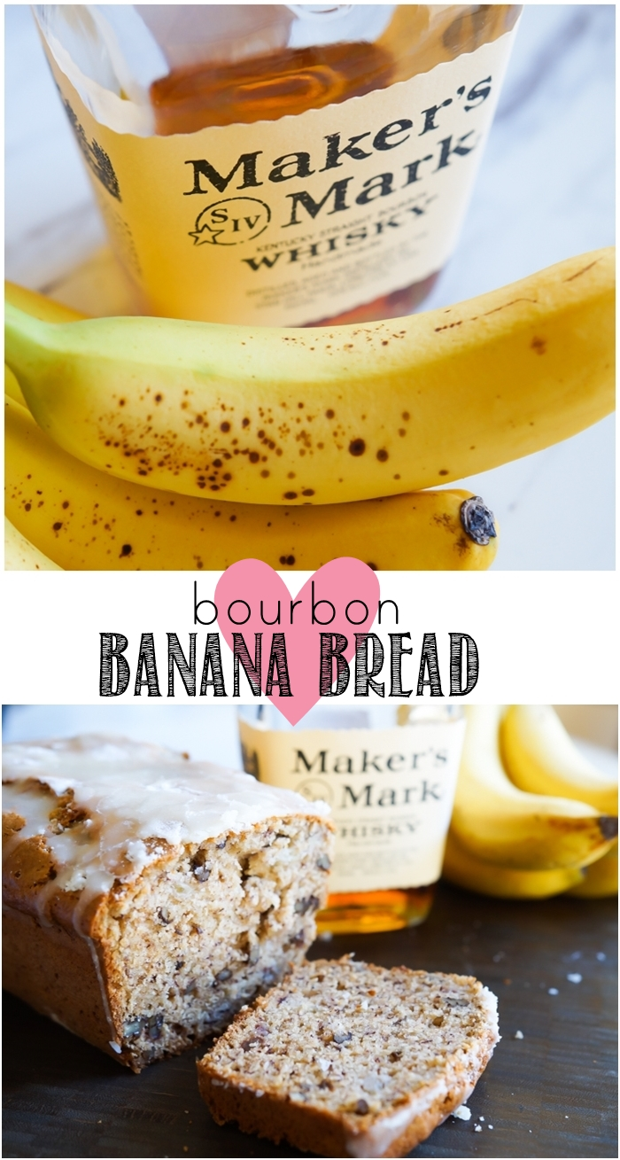 bourbon banana bread with buttered pecans and a boozy glaze | bakeat350.net