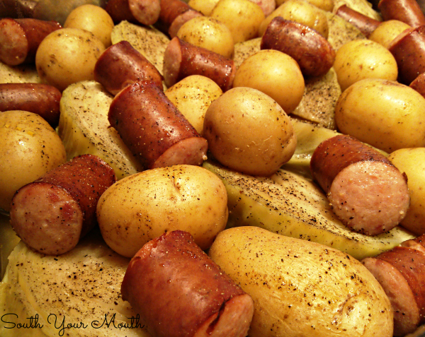 Smoked sausage or kielbasa steamed in one pot with cabbage and potatoes - can be made in the oven, on the stove-top or in your crock pot!