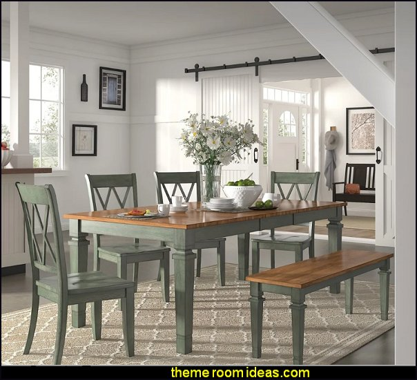 barn doors Antique Sage Green Extendable Rectangular Dining Set farmhouse decorating