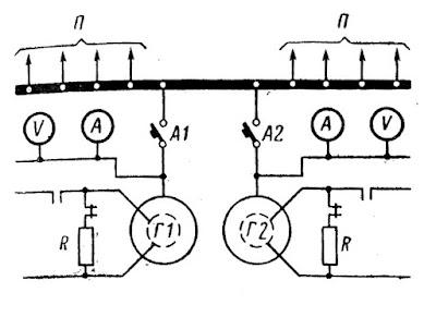 Схема включения синхронных генераторов на параллельную работу методом самосинхронизации