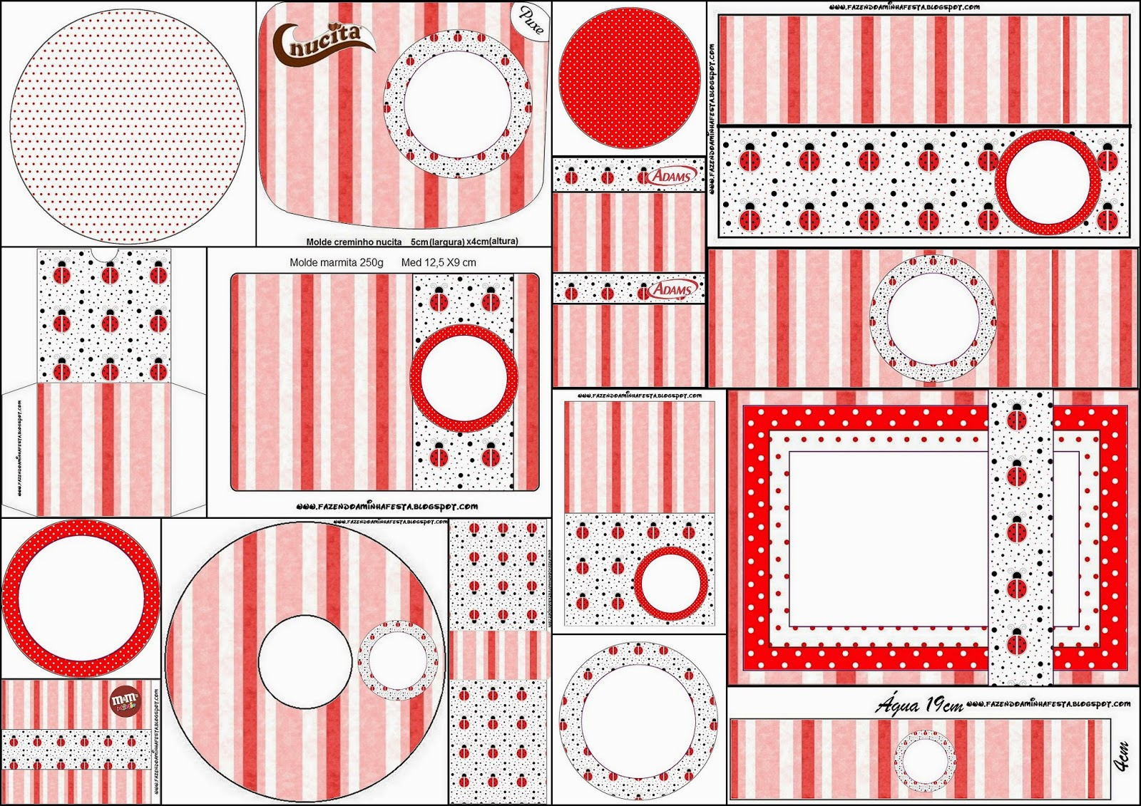 Ladybugs: Free Printable Candy Bar Labels.