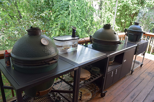 Big Green Egg modular nest,  Challenger Designs Torch, and my home-modified cart.