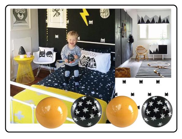 bouton de meuble jaune ,poignée noir et blanc, étoile