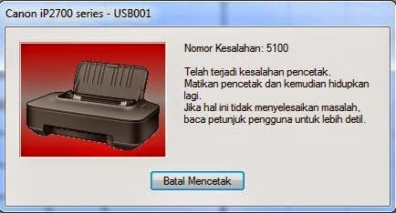 Cara Memperbaiki Error 5100 Printer Canon IP2770