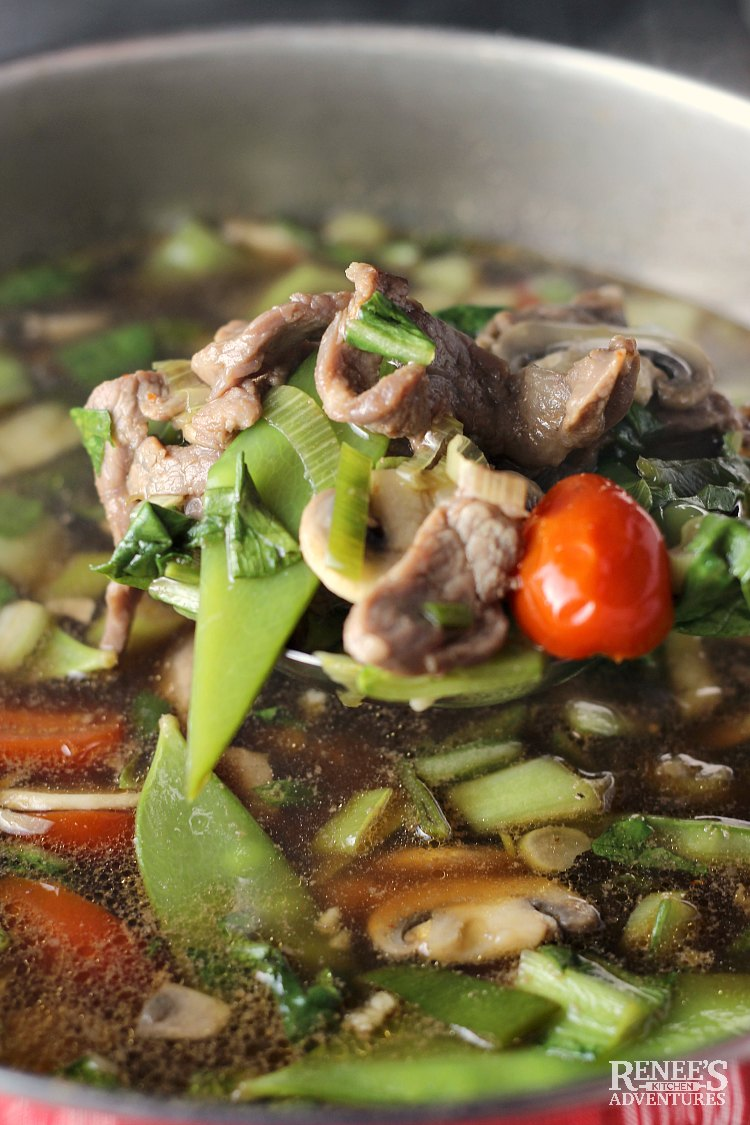 Ladle full of Spicy Chinese Beef Noodle Soup by Renee's Kitchen Adventures over a pot of the hot soup