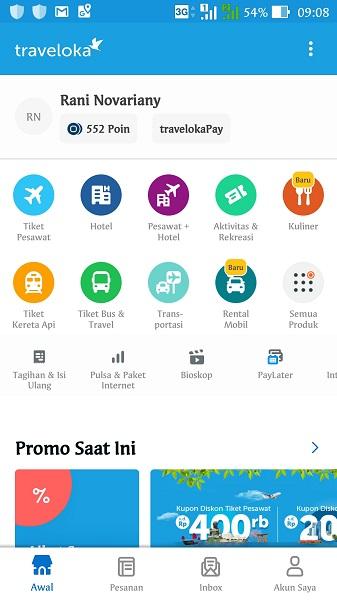 Traveloka mobile app