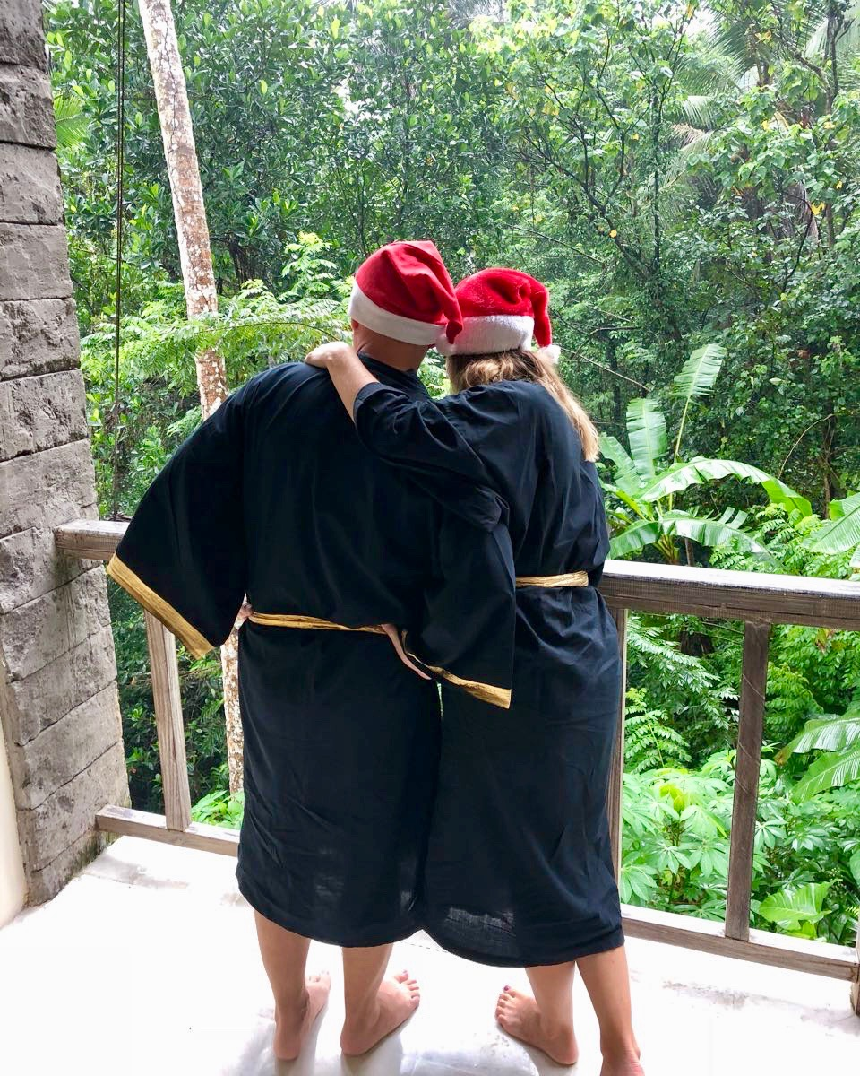our schedule allowed time to head back to kayon for a wash a swim a beer and a baileys eventually dressing ourselves up nice topped off with santa hat