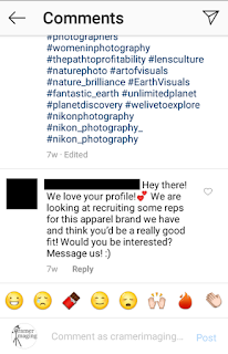 Example of an off-topic and spammy comment on Instagram