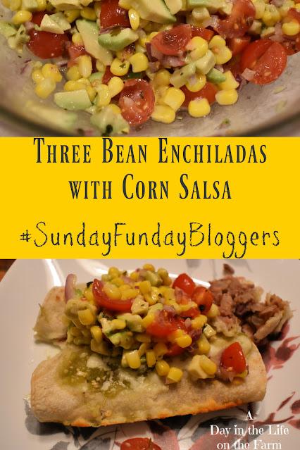Three Bean Enchiladas with Corn Salsa pin
