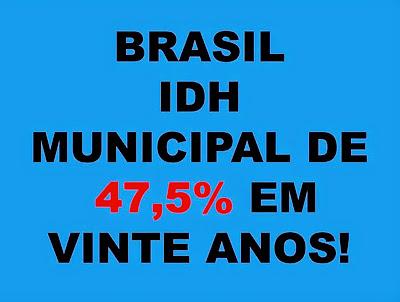 A imagem de fundo azul e caracteres em preto e vermelho diz: Brasil IDH municipal de 47,5% em vinte anos.