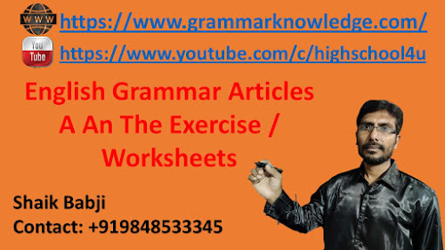 English Grammar Articles A An The Exercise / Worksheets