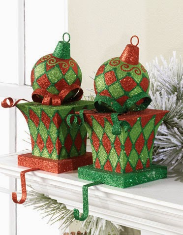 RAZ Red Green Harlequin Christmas Stocking Holders at Trendy Tree