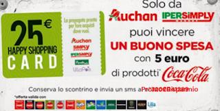 Logo Con Coca-Cola vinci 350 buoni spesa Auchan e Ipersimply da 25 €