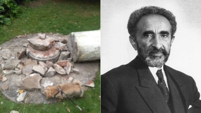 Haile Selassie: Statue of former Ethiopian leader destroyed in London park