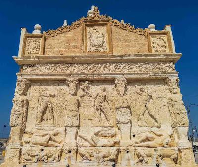 Greek fountain in Gallipoli village of Apulia region, Southern Italy