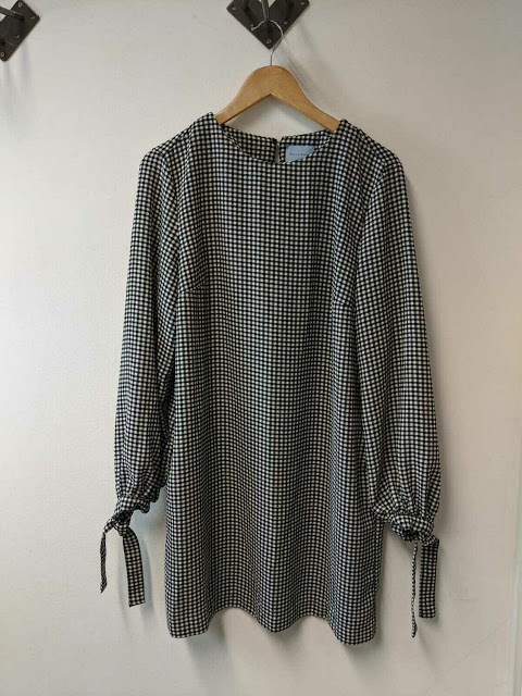 Checkered - Pattern Knotted Sleeves Dress
