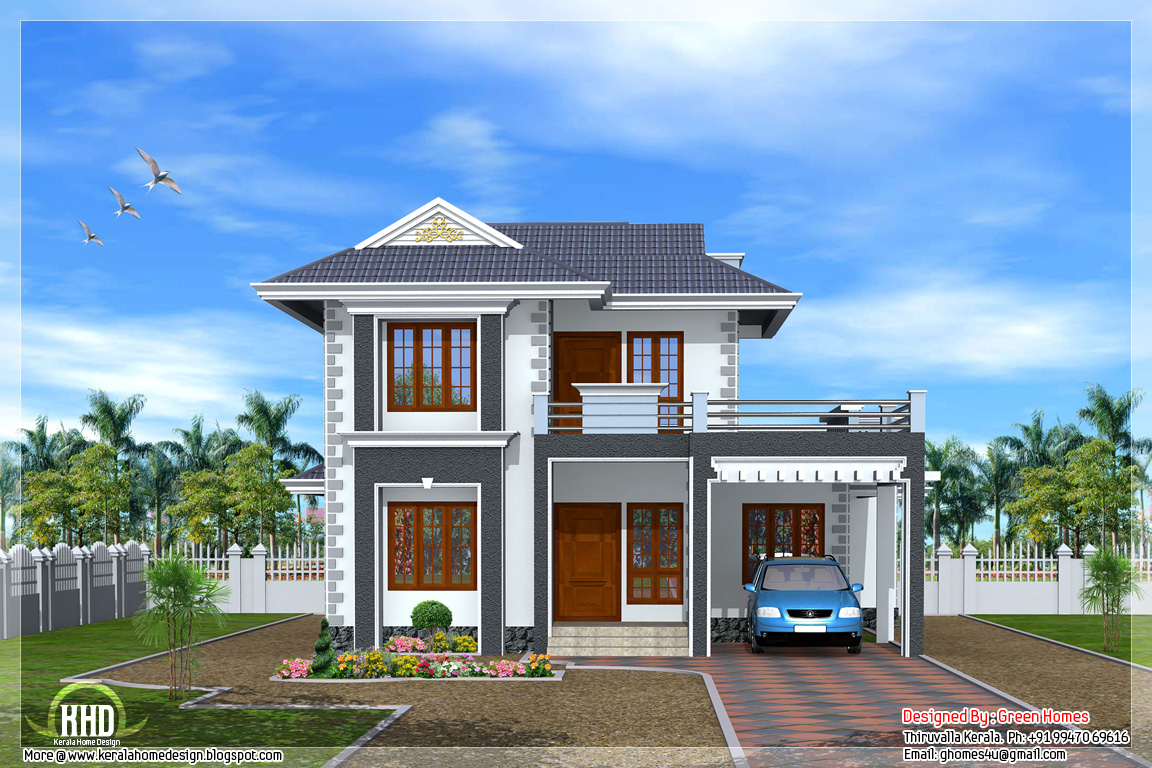 Beautiful 3 bedroom kerala home design kerala home for New kerala house plans with front elevation