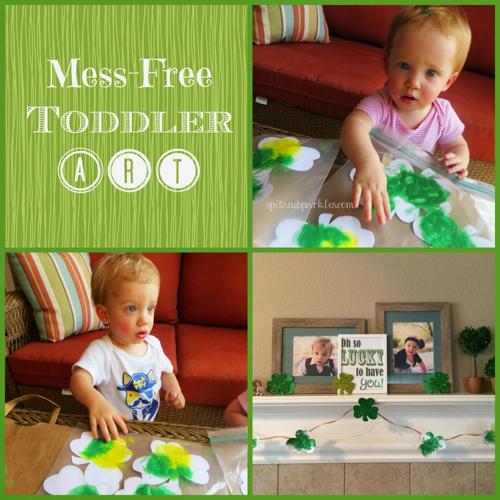 Mess-free toddler art by Spit and Sparkles Blog. #totschool #art #toddlerart #craftsforkids