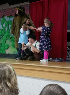 Young girls acting out Jack and the Beanstalk